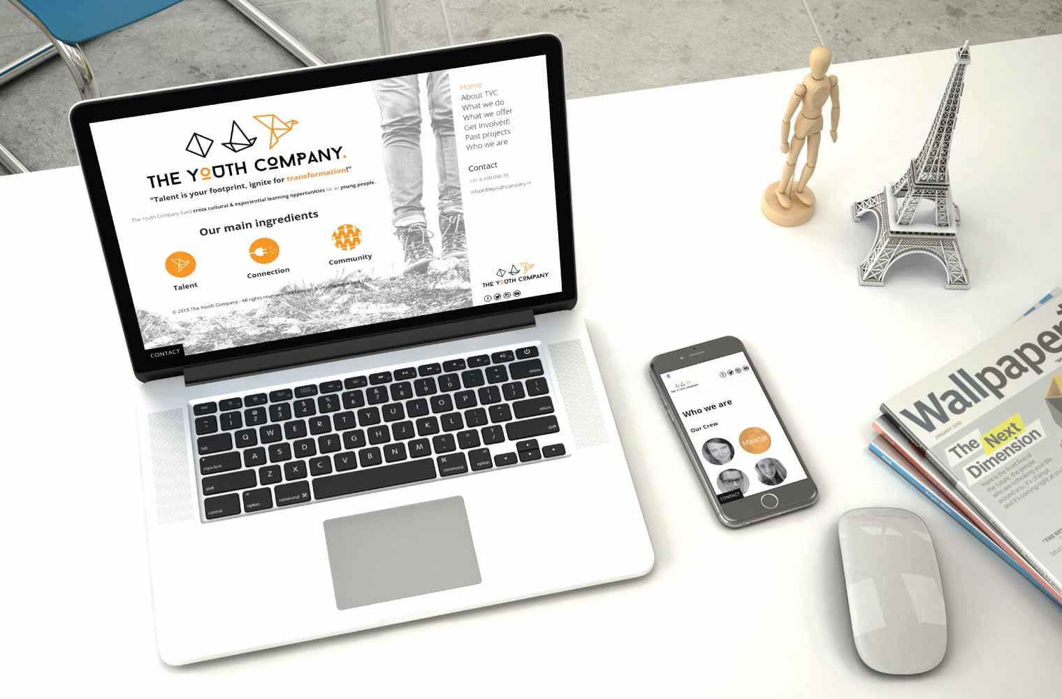 Website The Youth Company - desktop en mobile