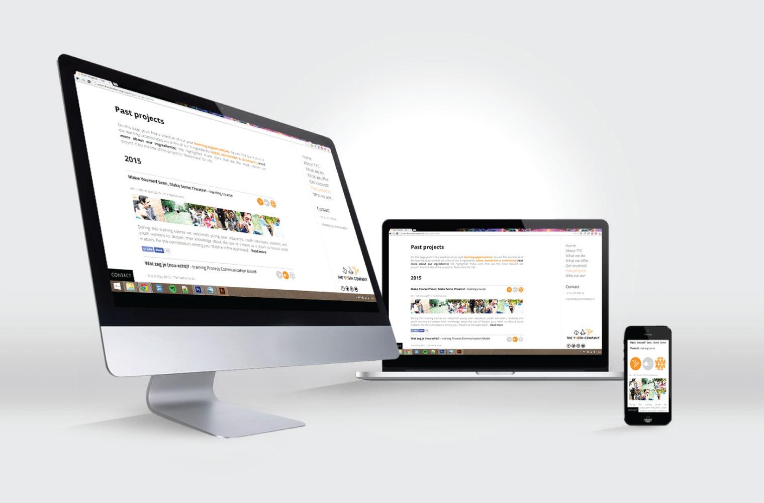 Website The Youth Company - desktop, laptop en mobiel