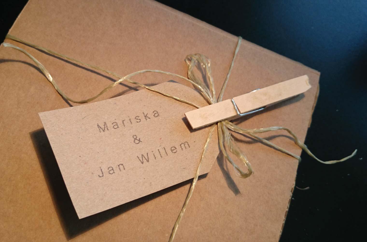 Doosje voor houtdruk Mariska & Jan Willem
