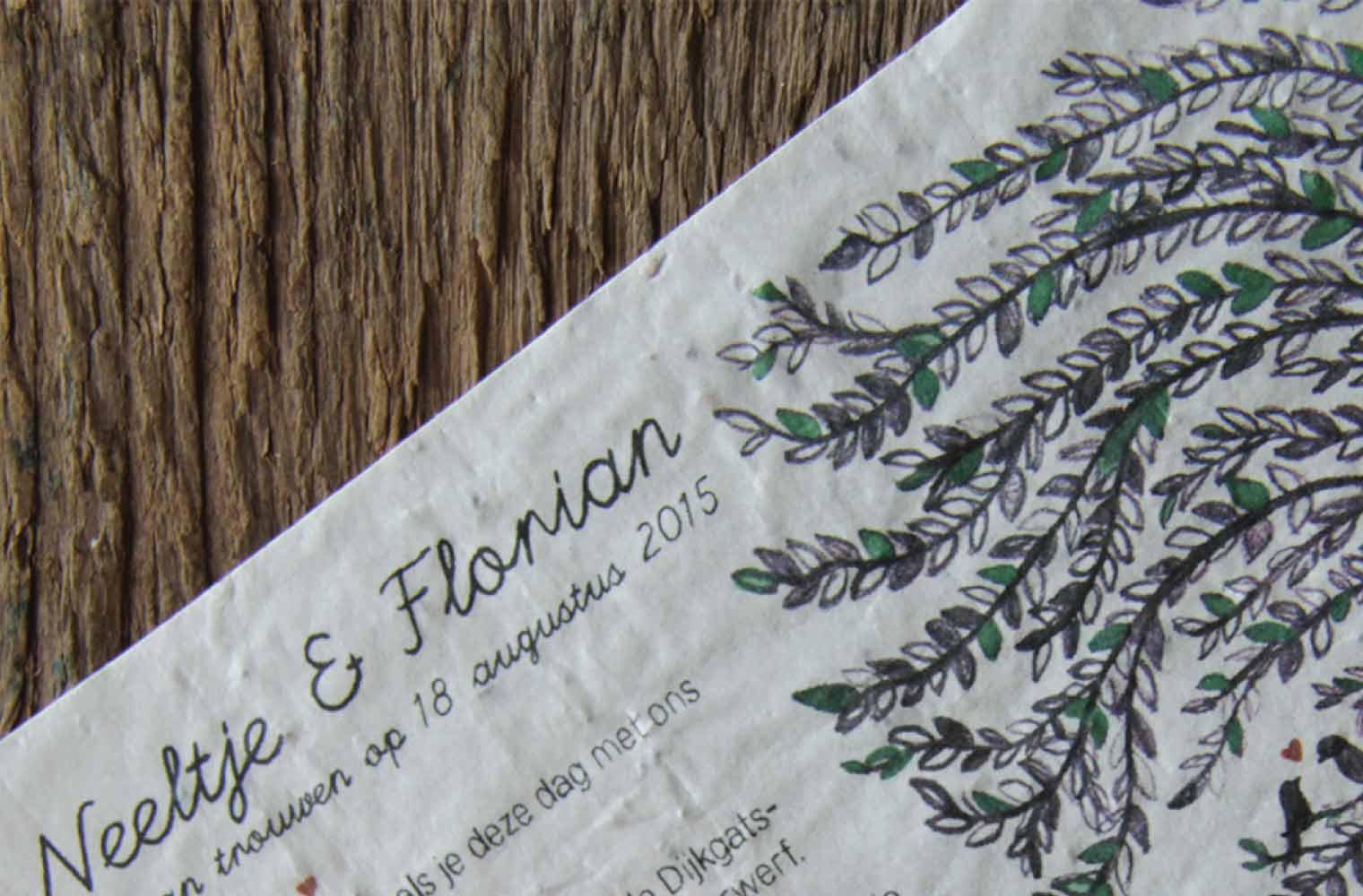 Trouwkaart Neeltje & Florian - detail