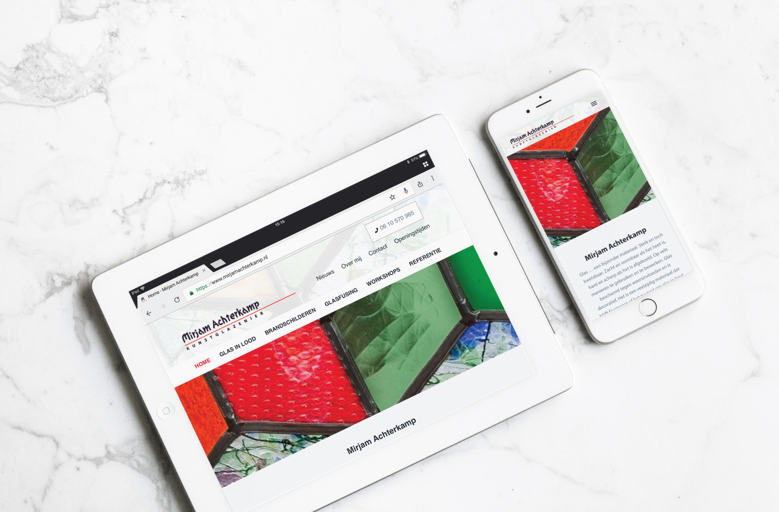 Mirjam Achterkamp WordPress Website op iPad en iPhone