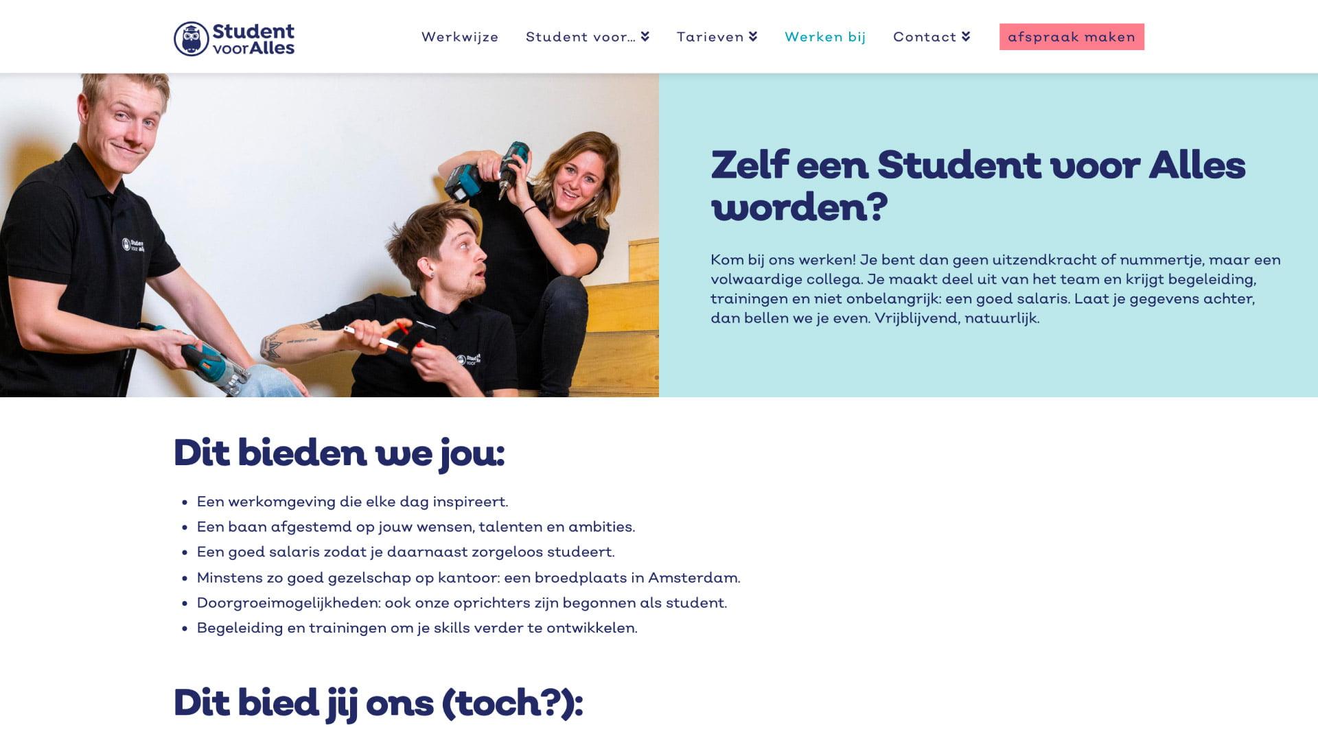Student voor Alles - Werken bij - website door ILUZIE