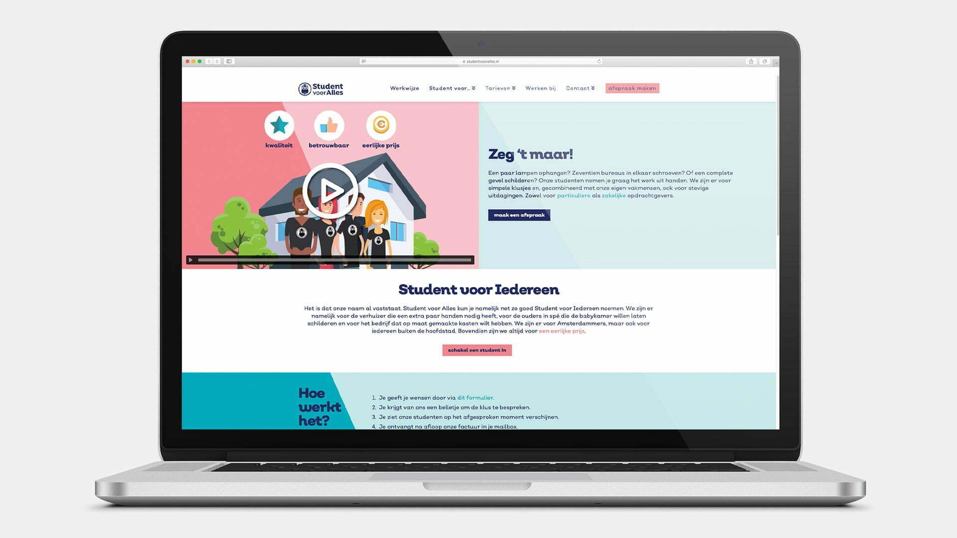 Website Student voor Alles - Laptop home - website door ILUZIE