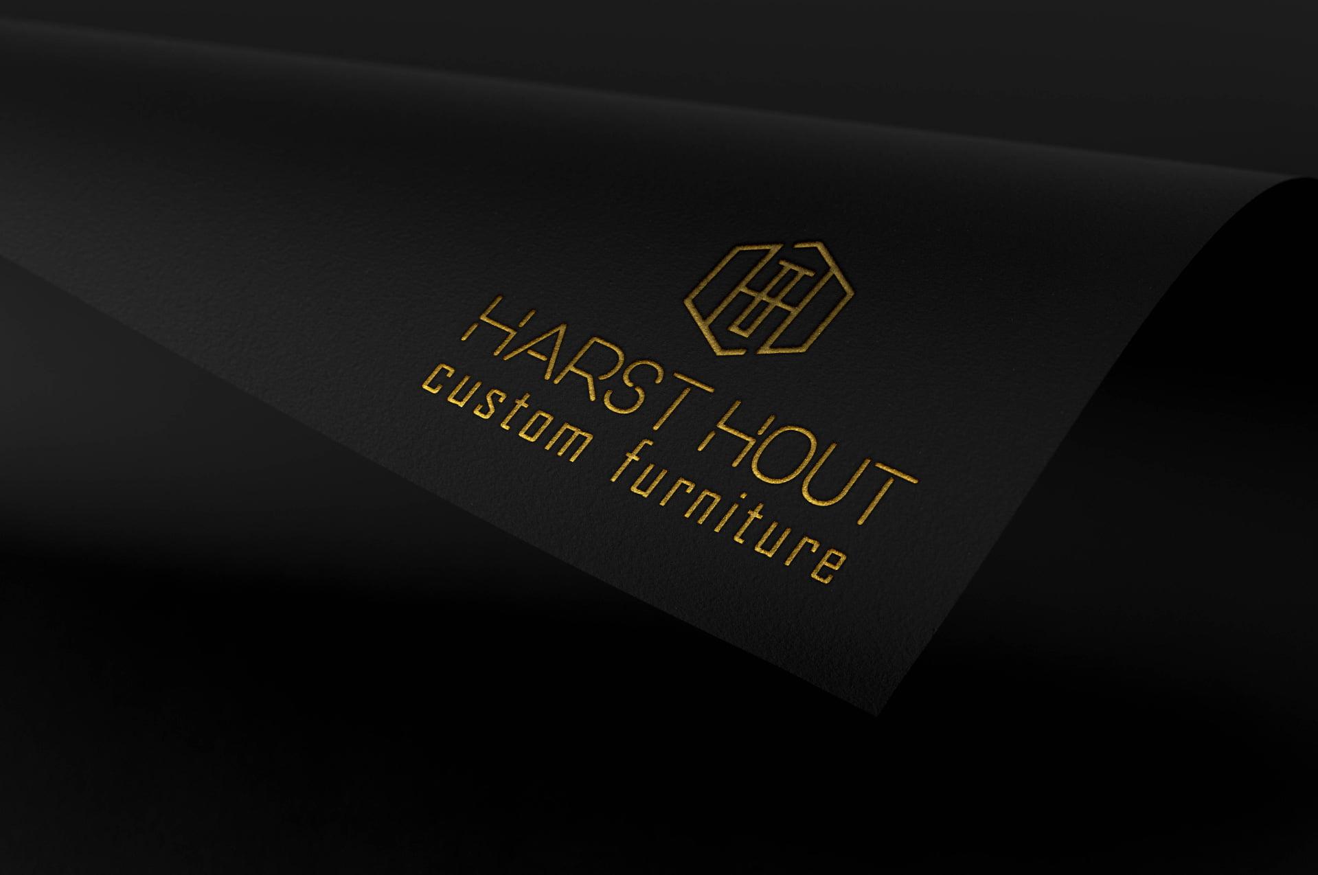 Logo Harst Hout Custom Furniture - Branding door ILUZIE - goud op zwart papier