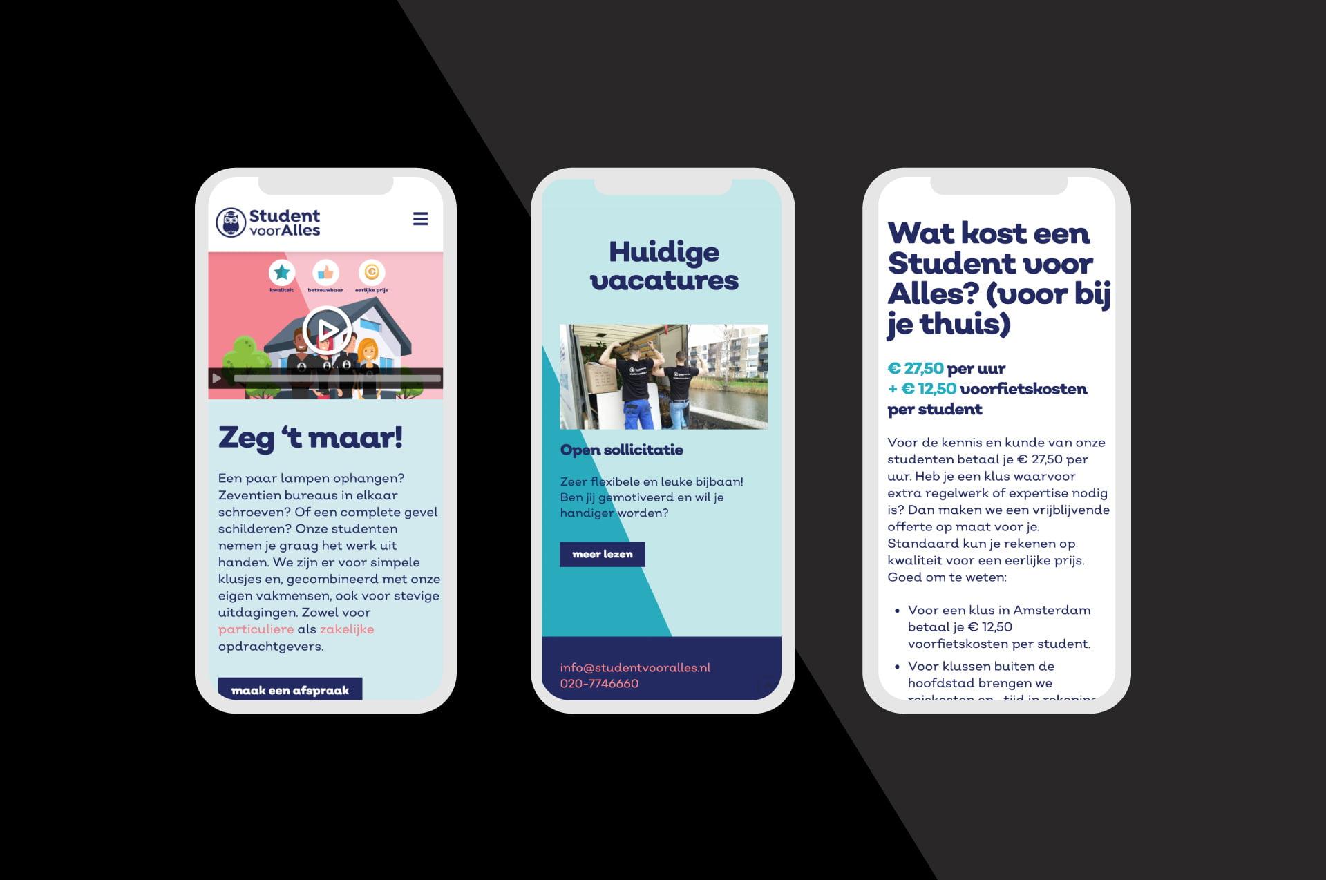 Mobile website Student voor Alles (door ILUZIE)