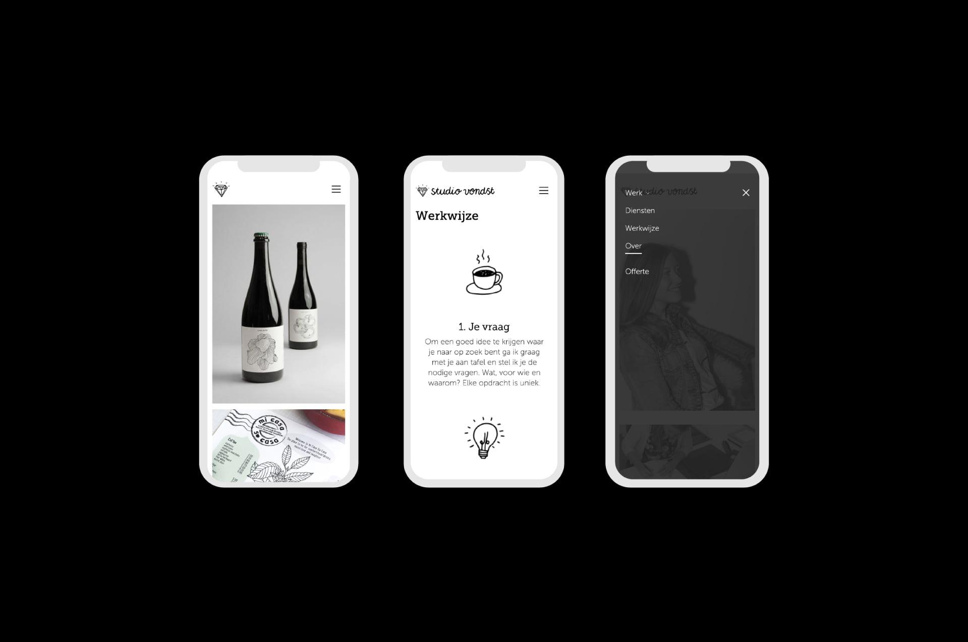 Mobile website Studio Vondst (door ILUZIE)