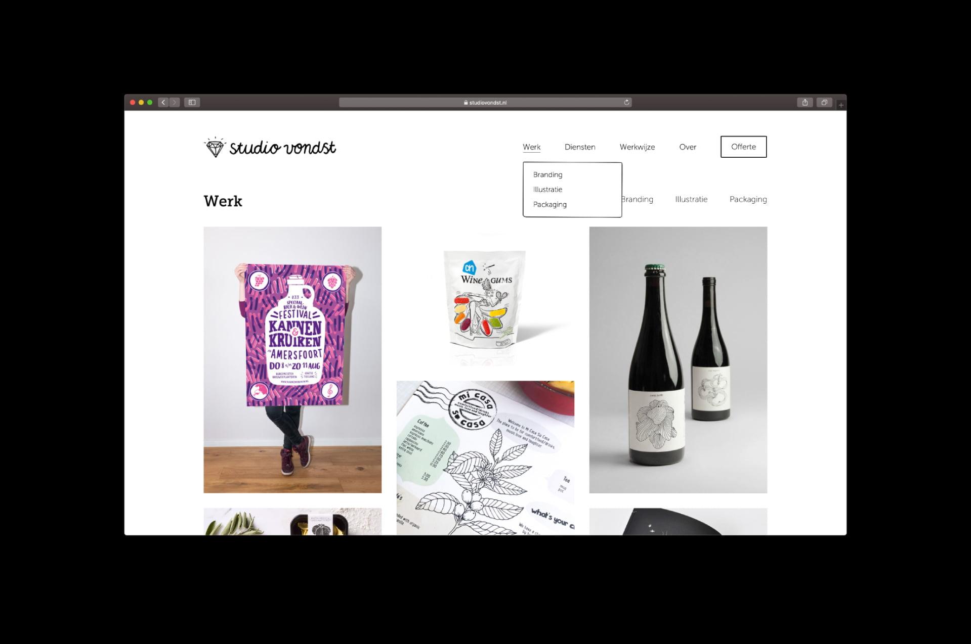 Website - werk Studio Vondst (door ILUZIE)