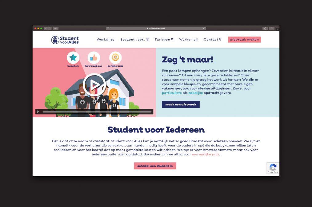 website Student voor Alles - homepage - door ILUZIE