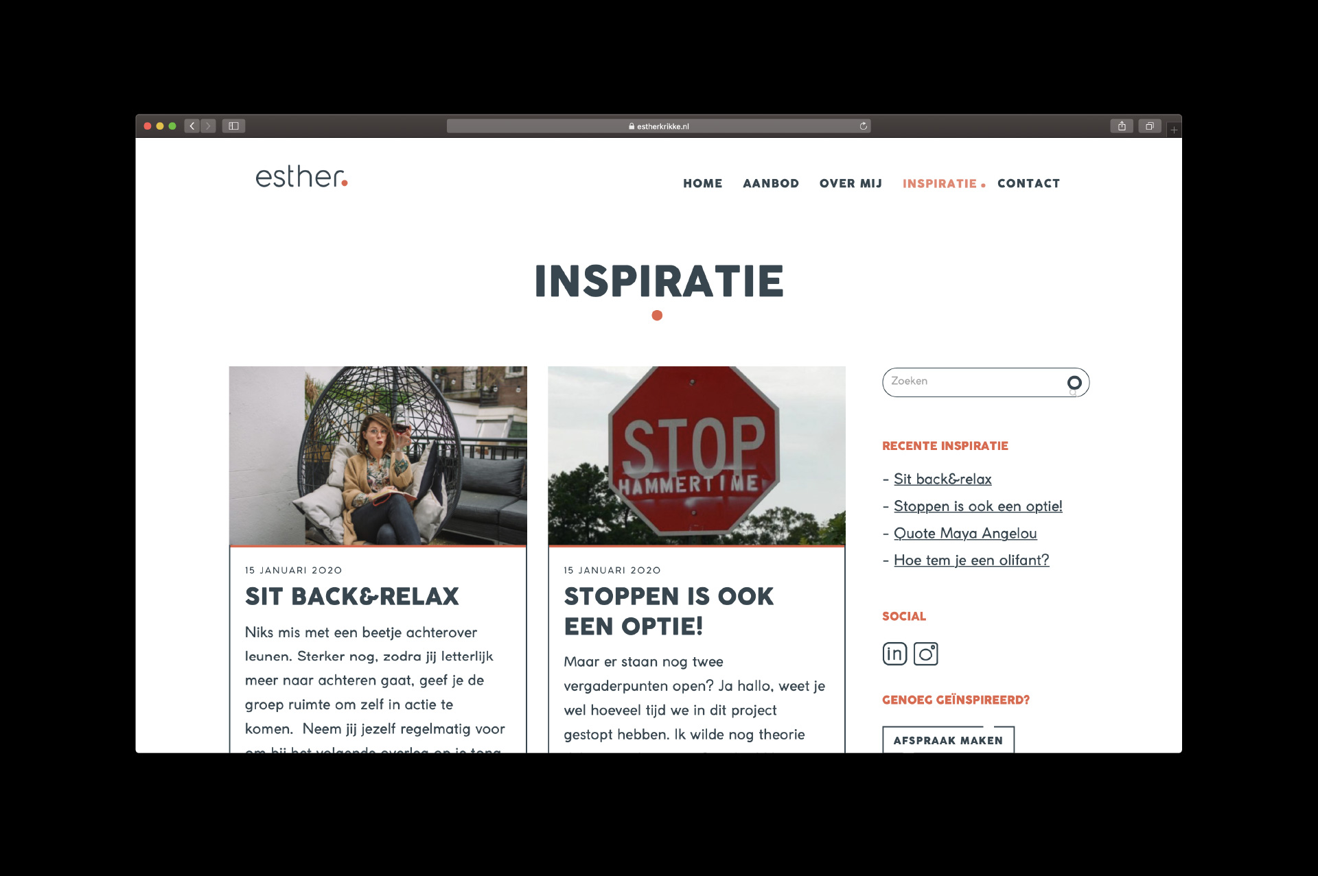 Esther Krikke - inspiratie - website door ILUZIE
