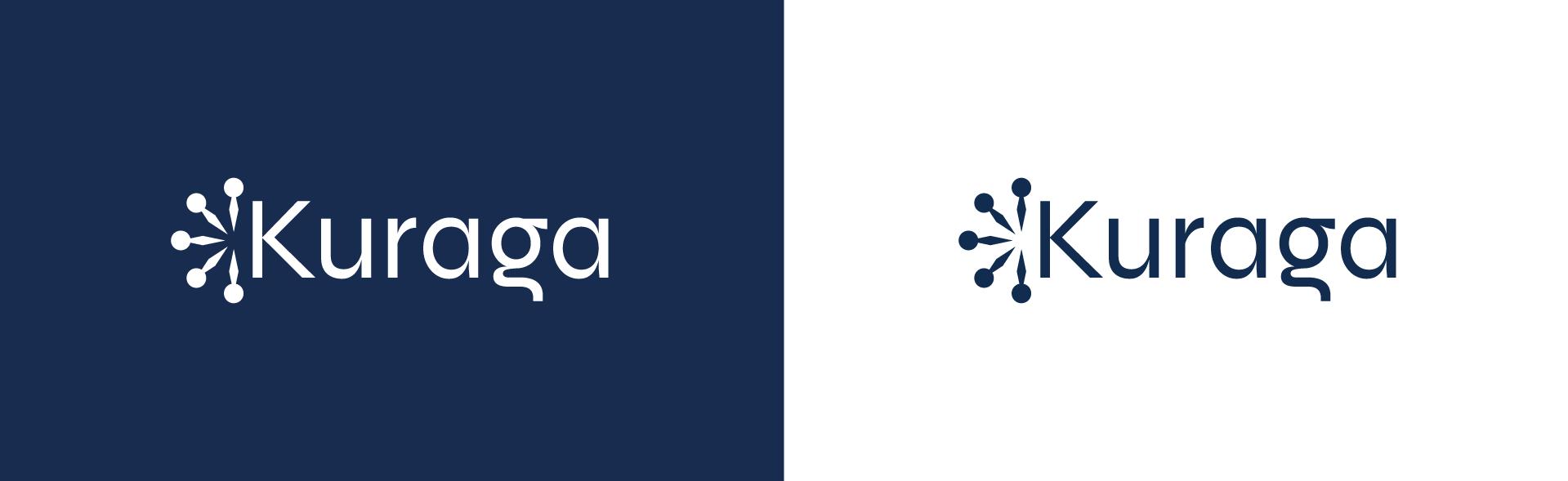 Logo Kuraga - wit en donkerblauw - branding door ILUZIE