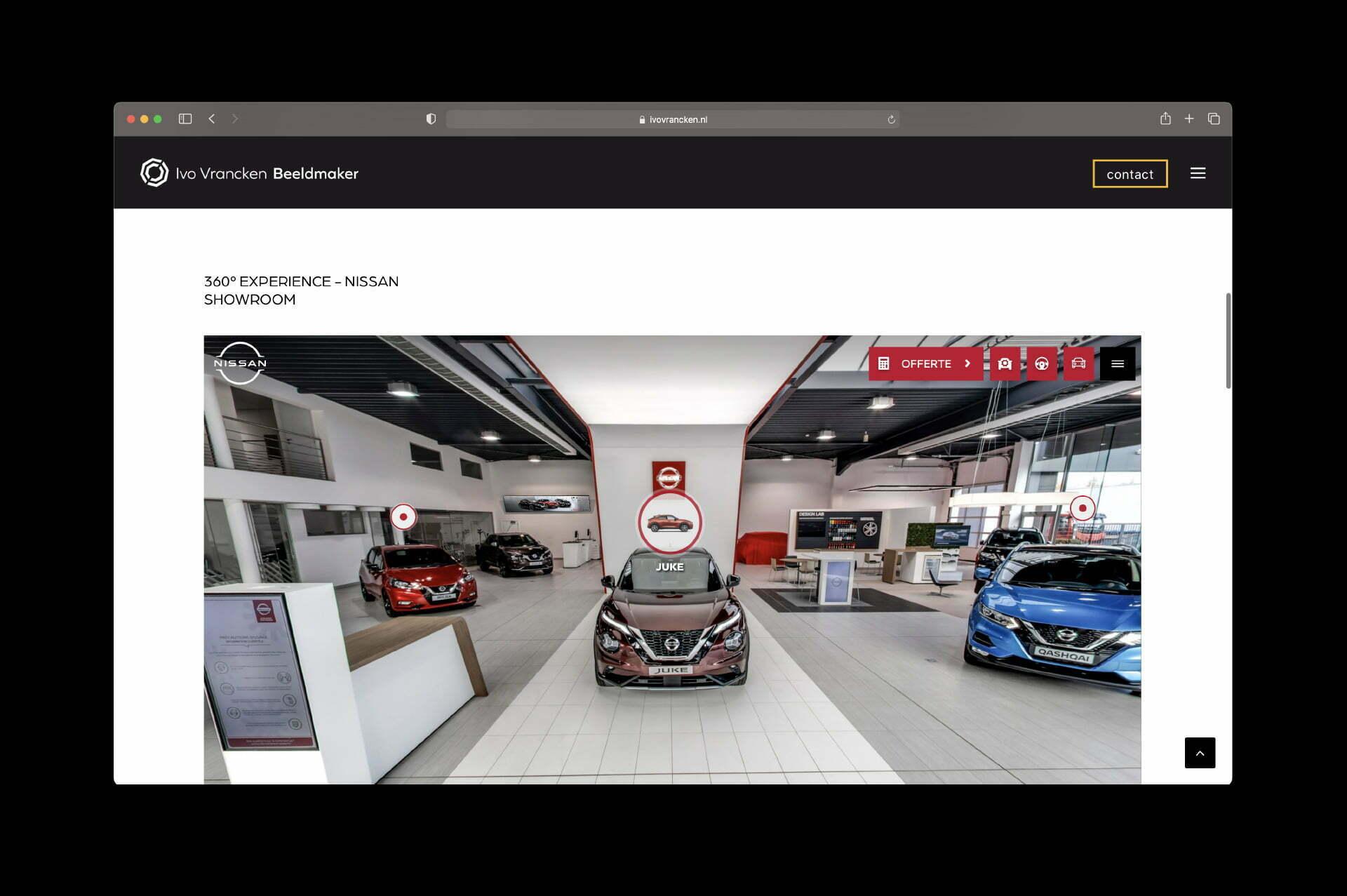 Website Ivo Vrancken - 360 experience Nissan - door Lizzy van ILUZIE